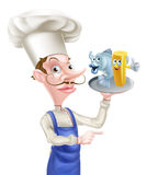 Cartoon Fish and Chips Chef Pointing Royalty Free Stock Photos