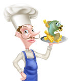 Cartoon Fish and Chips Chef. Seafood cartoon chef holding a platter or plate with fish and chips on it Royalty Free Stock Photography