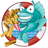 Cartoon Fish and Chips. Great illustration of a Cute Cartoon Cod Fish eating a tasty Traditional British portion of chips Stock Photos