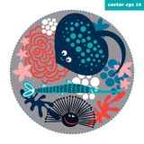 Cartoon fish circle. Funny cartoon style fish and corals in a circle shape background. element for your design, logo, print, sticker, etc Royalty Free Stock Photo