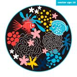 Cartoon fish circle. Funny cartoon style fish and corals in a circle shape background. element for your design, logo, print, sticker, etc Royalty Free Stock Photos