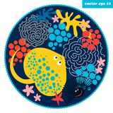 Cartoon fish circle. Funny cartoon style fish and corals in a circle shape background. element for your design, logo, print, sticker, etc Royalty Free Stock Image