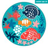 Cartoon fish circle. Funny cartoon style fish and corals in a circle shape background. element for your design, logo, print, sticker, etc Royalty Free Stock Images