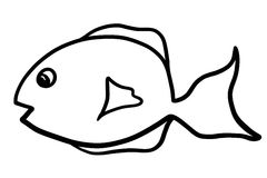 Cartoon Fish Clip Art Illustration. This cute black and white cartoon fish illustration is ready to use as is or can be colored to suit your needs Stock Photography
