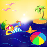 Cartoon fish. With a cocktail and the ball floats around the island Stock Images