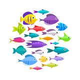 Cartoon fish collection background. Fish collection. Cartoon style. Illustration of different fish Stock Photo