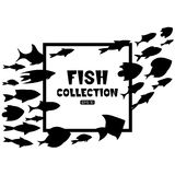 Cartoon fish collection background. Fish collection. Cartoon style. Illustration of twelve different fish Stock Images