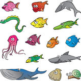 Cartoon Fish. A collection of colorful aquatic animals stock illustration
