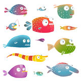 Cartoon Fish Collection for Kids Design. Fun cartoon hand drawn scary fishes for children design illustrations set. EPS10 vector has no background color Stock Photos