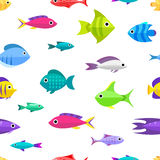 Cartoon fish collection seamless pattern. Fish collection. Cartoon style. Seamless pattern with different fish Royalty Free Stock Photo
