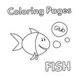 Cartoon Fish Coloring Book. Cartoon fish illustration. Vector coloring book pages for children Stock Image