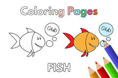 Cartoon Fish Coloring Book. Cartoon fish illustration. Vector coloring book pages for children Stock Photo