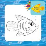 Cartoon fish. Coloring page. Vector illustration Royalty Free Stock Photo