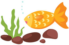 Cartoon fish and coral Stock Photography