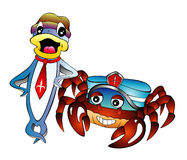 Cartoon Fish and Crab. Fish and Crab with dress cartoon style Stock Photos