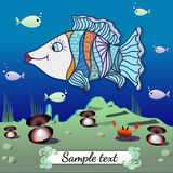 Cartoon fish in the depths of the ocean. Vector illustration. Image with undersea theme. Vector illustration Royalty Free Stock Photos