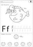 Cartoon fish and face. Alphabet tracing worksheet: writing A-Z a Royalty Free Stock Image