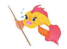 A cartoon fish fishing. A cartoon fish with a fishing rod Royalty Free Stock Photography