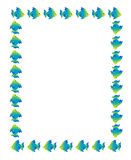 Cartoon fish frame. Fish page border background blue and green Stock Images