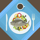 Cartoon Fish and Fresh Vegetables on a Plate. Vector. Cartoon Fish and Fresh Vegetables on a Plate Healthy Seafood Top View. Flat Design Style. Vector Stock Photography