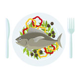 Cartoon Fish and Fresh Vegetables on a Plate. Vector. Cartoon Fish and Fresh Vegetables on a Plate Healthy Seafood Top View Isolated on White Background . Flat Stock Image