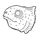 Cartoon fish head. Black and White Line cartoon in retro style.  Vector available Stock Images