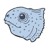 Cartoon fish head. Hand drawn cartoon illustration in retro style.  Vector available Stock Photography