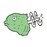 Cartoon fish head. Hand drawn cartoon illustration in retro style.  Vector available Royalty Free Stock Photography