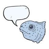 Cartoon fish head with speech bubble Royalty Free Stock Photos