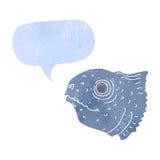 Cartoon fish head with speech bubble Stock Images