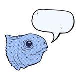 Cartoon fish head with speech bubble Stock Photography