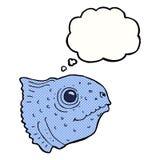 Cartoon fish head with thought bubble Stock Photo