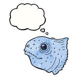Cartoon fish head with thought bubble Royalty Free Stock Photo