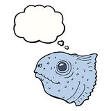 Cartoon fish head with thought bubble Royalty Free Stock Photography