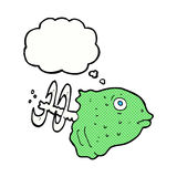 Cartoon fish head with thought bubble Royalty Free Stock Image