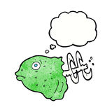 Cartoon fish head with thought bubble Stock Photography