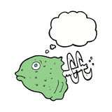 Cartoon fish head with thought bubble Stock Image