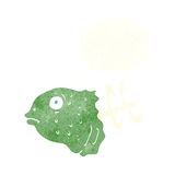 Cartoon fish head with thought bubble Stock Images