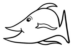 Cartoon Fish Illustration Clip Art. This black and white hand drawn cartoon fish illustration can be used as is or colored to suit your needs Royalty Free Stock Photography