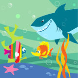 Cartoon fish. The illustration shows an underwater landscape with small fish and shark. Illustration made with cartoon style, on separate layers Royalty Free Stock Photo