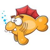 Cartoon fish illustration. Tooth, water, eye. Royalty Free Stock Photography