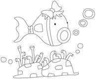 Cartoon fish. Illustration of a fish on a white background Royalty Free Stock Photography