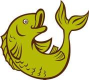 Cartoon fish jumping side. Illustration of a cartoon fish jumping side isolated on white Royalty Free Stock Photos