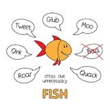 Cartoon Fish Kids Learning Game. Funny fish kids learning game. Vector design for children Royalty Free Stock Photo
