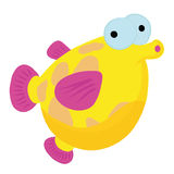Cartoon fish in light blue sea Stock Images
