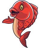 Cartoon fish mascot waving royalty free illustration