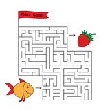 Cartoon Fish Maze Game. Funny game for children education Royalty Free Stock Photos