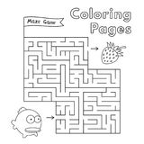 Cartoon Fish Maze Game. Vector coloring book pages for children Royalty Free Stock Images