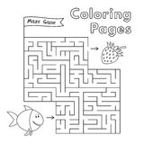 Cartoon Fish Maze Game. Vector coloring book pages for children Stock Images