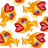 Cartoon of fish pattern. On white background is insulated Stock Photos